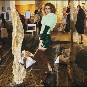 Balmain Green Sequin Dress